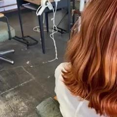 ミディアム ナチュラル可愛い オレンジ オレンジブラウン ヘアスタイルや髪型の写真・画像