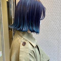ナチュラル グラデーションカラー ブルー 裾カラー ヘアスタイルや髪型の写真・画像