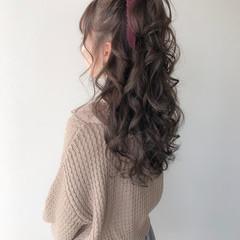 ヘアアレンジ ロング ラベンダーアッシュ ハーフアップ ヘアスタイルや髪型の写真・画像