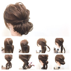 簡単ヘアアレンジ 大人女子 セミロング フェミニン ヘアスタイルや髪型の写真・画像