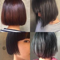 黒髪 モード グラデーションカラー ボブ ヘアスタイルや髪型の写真・画像