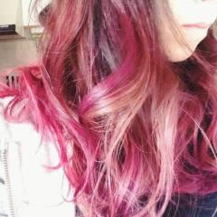 グラデーションカラー ピンク ゆるふわ ロング ヘアスタイルや髪型の写真・画像