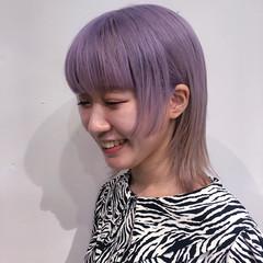 ウルフカット ブリーチ パープル インナーカラー ヘアスタイルや髪型の写真・画像