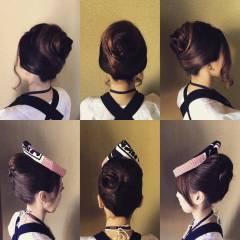 アップスタイル ヘアアレンジ ガーリー セミロング ヘアスタイルや髪型の写真・画像