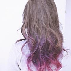 パープル ロング ピンク ストリート ヘアスタイルや髪型の写真・画像