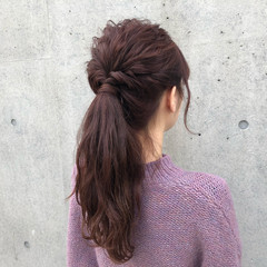 簡単ヘアアレンジ セミロング アンニュイほつれヘア ナチュラル ヘアスタイルや髪型の写真・画像