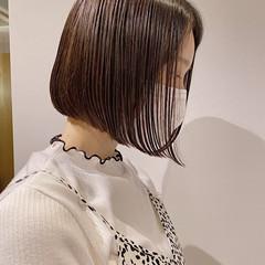 ナチュラル 簡単スタイリング ミニボブ ブラウンベージュ ヘアスタイルや髪型の写真・画像
