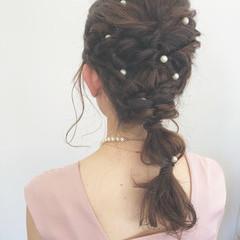 ヘアアレンジ 結婚式 セミロング パーティ ヘアスタイルや髪型の写真・画像
