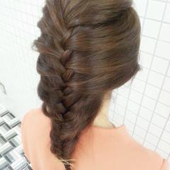 ロング 編み込み 簡単ヘアアレンジ ヘアピン ヘアスタイルや髪型の写真・画像
