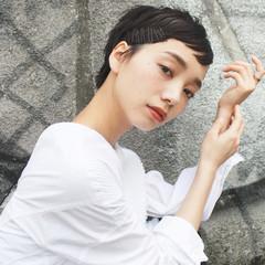 ショート 黒髪 ヘアアレンジ モード ヘアスタイルや髪型の写真・画像