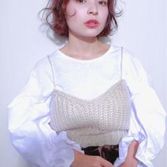 アンニュイ ボブ 切りっぱなし ピンク ヘアスタイルや髪型の写真・画像