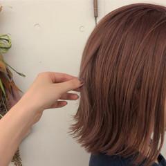 ボブ 切りっぱなしボブ ピンクラベンダー ガーリー ヘアスタイルや髪型の写真・画像
