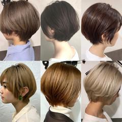 小顔ショート 黒髪ショート ハンサムショート フェミニン ヘアスタイルや髪型の写真・画像