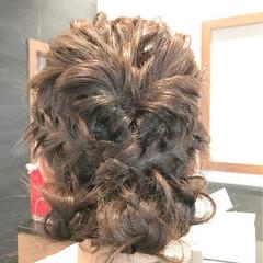 編み込み フェミニン ミディアム 結婚式 ヘアスタイルや髪型の写真・画像