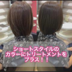 ミディアム 髪質改善 ミニボブ ナチュラル ヘアスタイルや髪型の写真・画像
