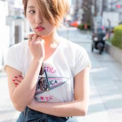 春 ショート ストリート アッシュ ヘアスタイルや髪型の写真・画像