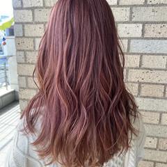 ピンクラベンダー ピンクバイオレット ロング ピンクパープル ヘアスタイルや髪型の写真・画像