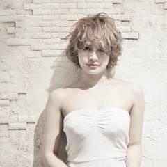 ガーリー 逆三角形 モテ髪 ショート ヘアスタイルや髪型の写真・画像