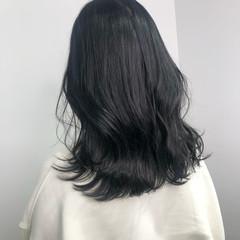 グレージュ ダークアッシュ セミロング 透明感カラー ヘアスタイルや髪型の写真・画像