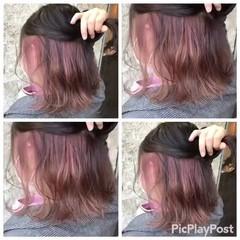 インナーカラー 大人かわいい ボブ フェミニン ヘアスタイルや髪型の写真・画像