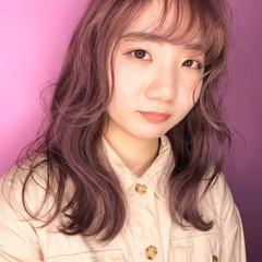 ピンク ピンクベージュ ロング ロングヘアスタイル ヘアスタイルや髪型の写真・画像