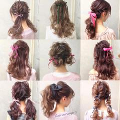 ヘアアレンジ ツインテール ガーリー ハーフアップ ヘアスタイルや髪型の写真・画像