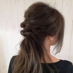 くるりんぱ 編み込み ロング 二次会 ヘアスタイルや髪型の写真・画像