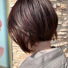 ハイライト ボブ ラズベリーピンク ピンク ヘアスタイルや髪型の写真・画像