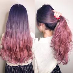 ロング グラデーションカラー オシャレ フェミニン ヘアスタイルや髪型の写真・画像