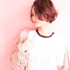 ショート 外国人風 ブラウン パーマ ヘアスタイルや髪型の写真・画像