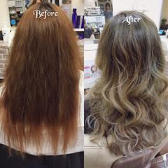 グラデーションカラー ロング アッシュ 夏 ヘアスタイルや髪型の写真・画像