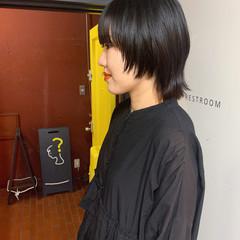 マッシュウルフ ウルフカット ボブアレンジ 黒髪 ヘアスタイルや髪型の写真・画像