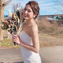 花嫁 二次会ヘア エレガント シニヨン ヘアスタイルや髪型の写真・画像