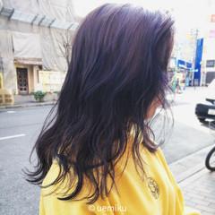 グラデーションカラー ストリート パープル セミロング ヘアスタイルや髪型の写真・画像