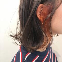 透明感 ボブ ブリーチ オレンジカラー ヘアスタイルや髪型の写真・画像