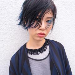 黒髪 ダブルカラー ストリート うざバング ヘアスタイルや髪型の写真・画像