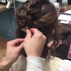 ハーフアップ ミルクティー ボブ ヘアアレンジ ヘアスタイルや髪型の写真・画像