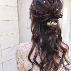 結婚式 大人かわいい ヘアアレンジ ロング ヘアスタイルや髪型の写真・画像