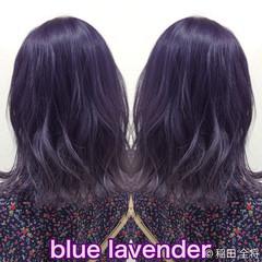 ブルーラベンダー ラベンダーアッシュ ミディアム ヘアカラー ヘアスタイルや髪型の写真・画像