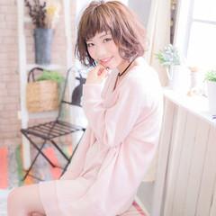 ガーリー ボブ ピンク パーマ ヘアスタイルや髪型の写真・画像