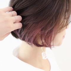 インナーカラーパープル ボブ ラベンダーピンク ピンクラベンダー ヘアスタイルや髪型の写真・画像