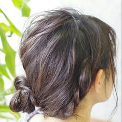ヘアアレンジ ナチュラル ミディアム ロープ編み ヘアスタイルや髪型の写真・画像