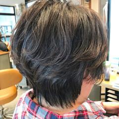 ショート ボブ ナチュラル アシメバング ヘアスタイルや髪型の写真・画像