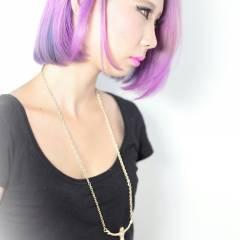 ガーリー パープル ブリーチ 渋谷系 ヘアスタイルや髪型の写真・画像
