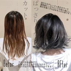 ボブ ハイライト 外国人風カラー ナチュラル ヘアスタイルや髪型の写真・画像