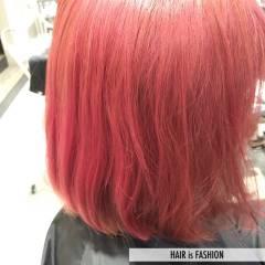 ガーリー ボブ ピンク ヘアスタイルや髪型の写真・画像