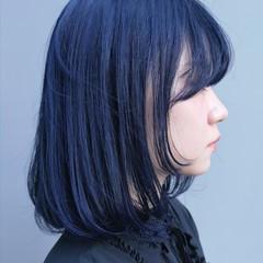 ダブルカラー ネイビー ブルー ボブ ヘアスタイルや髪型の写真・画像