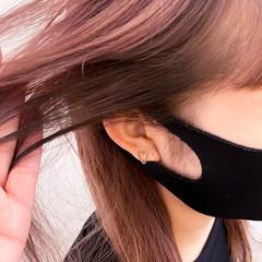 セミロング ナチュラル ピンク 前髪 ヘアスタイルや髪型の写真・画像