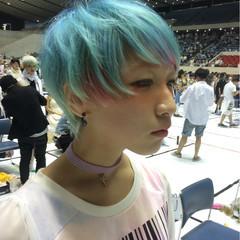 ハイトーン ショート モード ブルー ヘアスタイルや髪型の写真・画像