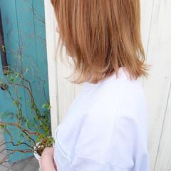 ボブ 切りっぱなしボブ ストリート ミルクティーベージュ ヘアスタイルや髪型の写真・画像